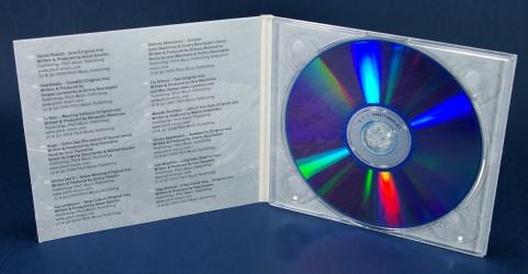 Диджипак CD для 1 диска, вид на разворот, крепление диска на трей.