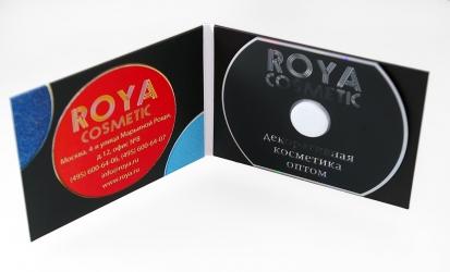 Дигипак для 1 CD-card, внутренний разворот, крепление CD визитки на спайдер.