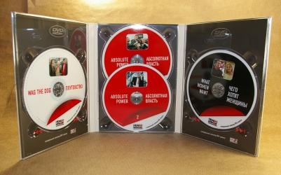 Digipack DVD 6 полос, 4 диска. Дубль-трей для двух дисков по центру.