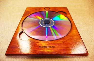 Деревянная упаковка-трей для 1 диска. Mediajet.